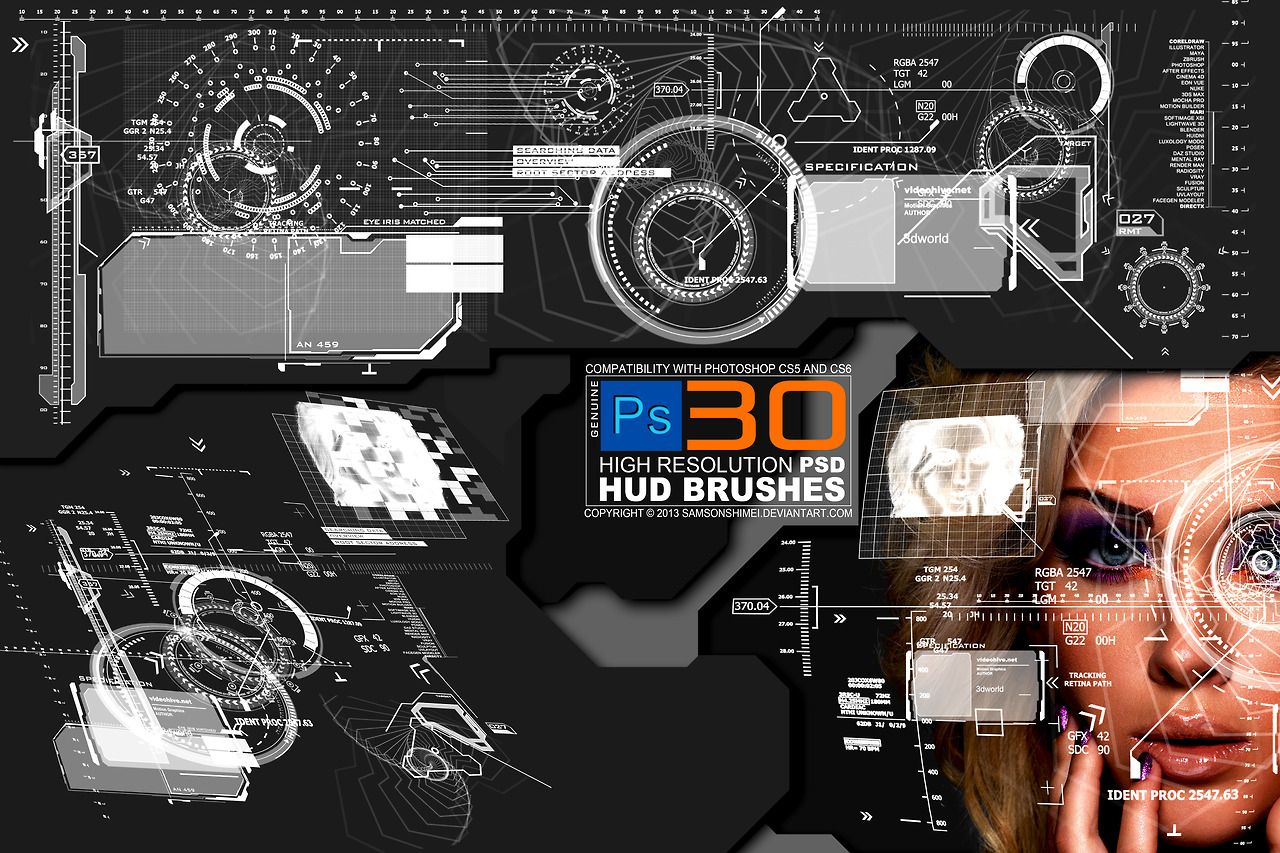 Heads up display 30 hi res photoshop brushes by samson shimei the 60 best free photoshop brushes according to creative bloq your mileage may vary baditri Images