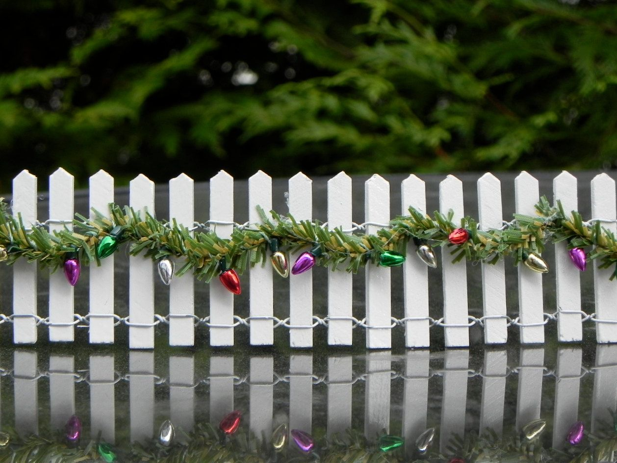Miniature Fairy Garden Fence With Christmas Garland By