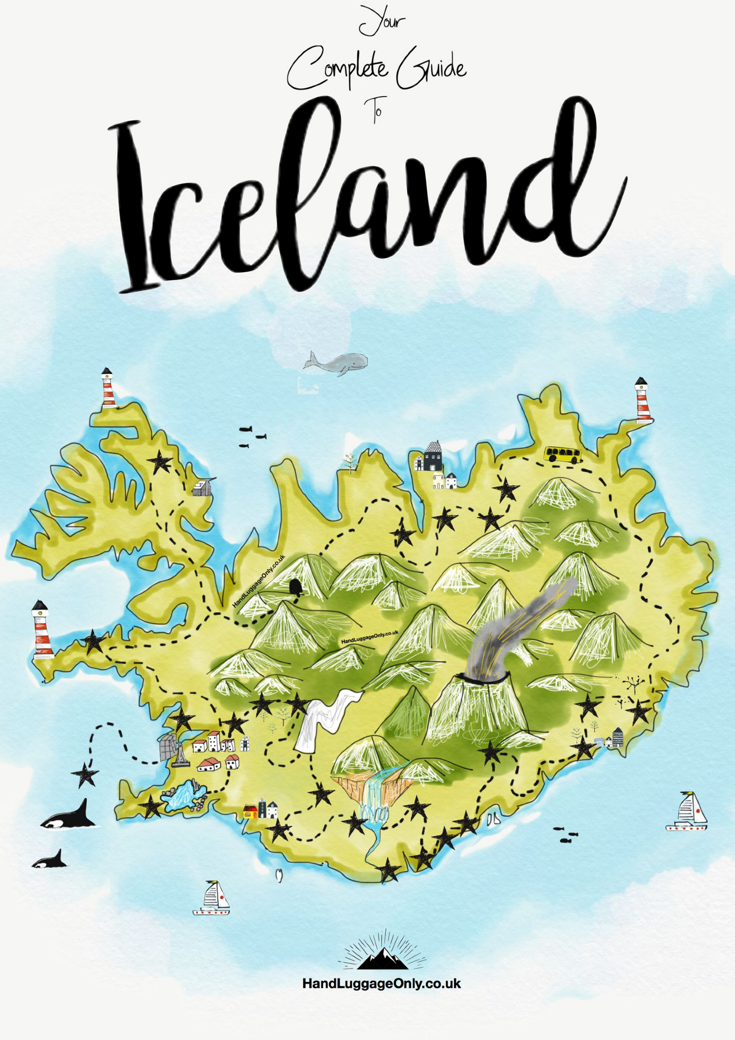 A Nice Illustrated Map Of Iceland Iceland Travel Iceland Map Iceland Travel Guide