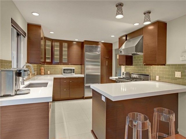 white ceiling mid century modern kitchens with brown cabinet feat small siland white countertop and twin - Mid Century Modern Kitchen Update