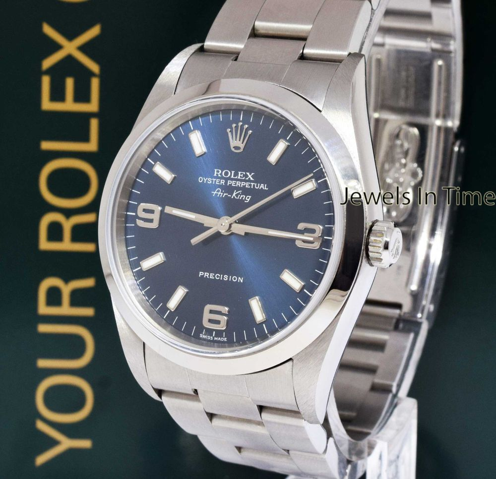Rolex AirKing Stainless Steel Blue Dial Mens Automatic