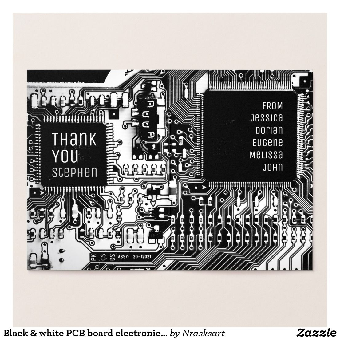 Black White Pcb Board Electronic Printed Circuit Foil Card Zazzle Com In 2020 Scripture Typography Black And White