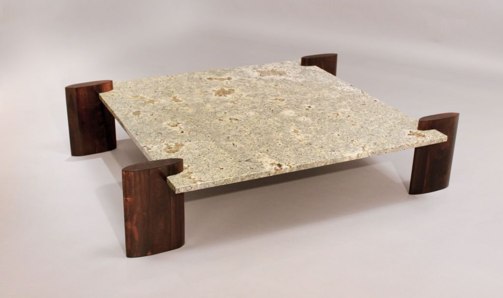 Rosewood and Pale Blue Granite Coffee Table Attributed to Celina ...