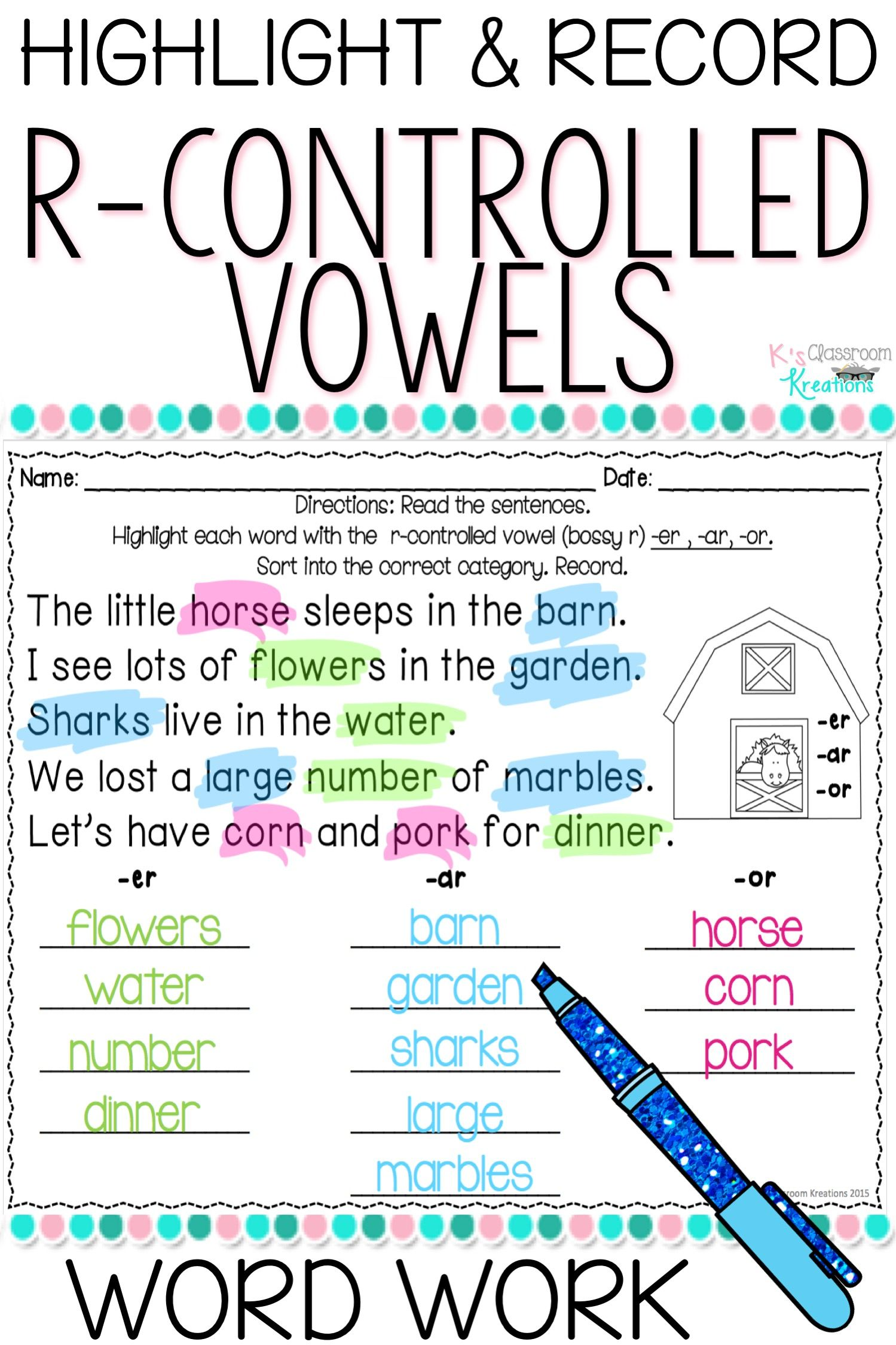 R Controlled Vowel Word Work Worksheets