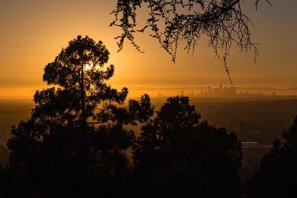 Hazy Sunset, Downtown LA. Rose Hills Cemetery.