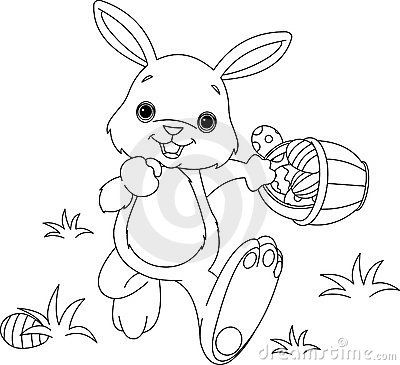 Easter Bunny Hiding Eggs coloring page | Anything Easter | Pinterest