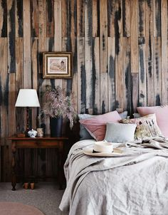 Recycled Fence Paling Feature Wall Photo Lisa Cohen Home Decor Bedroom Bedroom Interior Home Decor