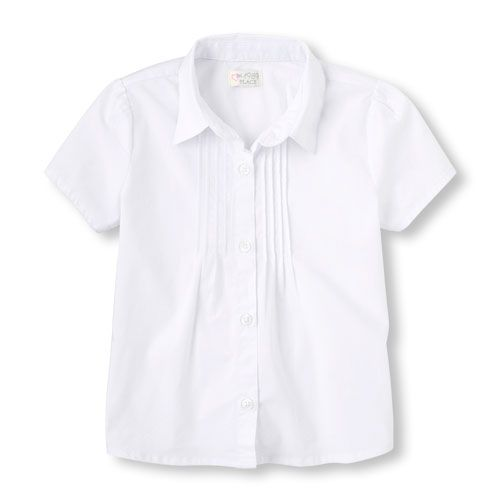 db062ffeea609 Girls Uniform Short Sleeve Pintucked Button-Down Collared Top - White - The  Children s Place