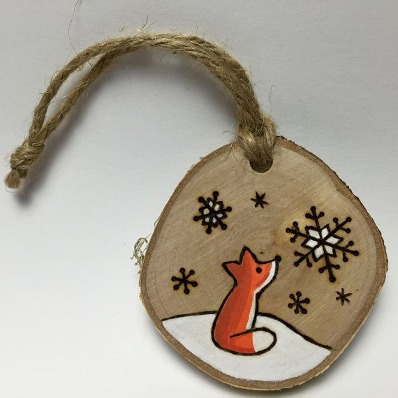 Fox Christmas Ornament Handmade Wood Burned By