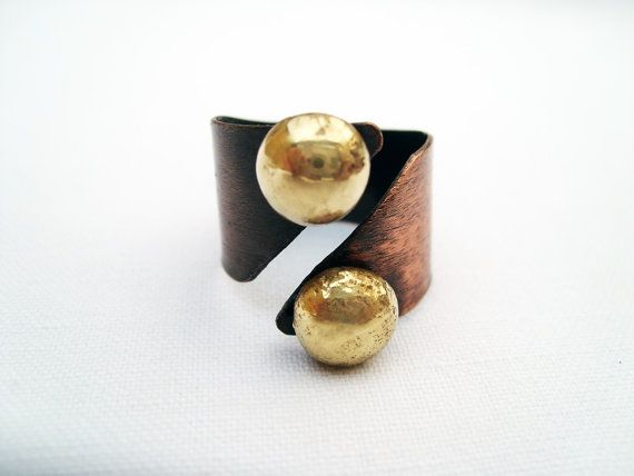 Large copper ring with golden brass pebbles by BaccaraJewelry, $38.00