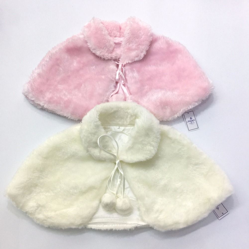 Free Shipping Wedding Party Flower Girl Faux Fur Stole Wraps Poncho ...
