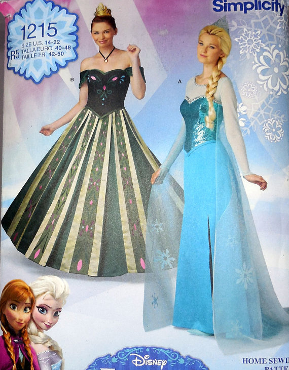 Simplicity 1215 - DIY Disney Frozen Costumes - Annau0027s Coronation Gown Elsau0027s Snow Queen Gown - Size 14 16 18 20 22 - UNCUT Cosplay  sc 1 st  Pinterest & Simplicity 1215 - DIY Disney Frozen Costumes - Annau0027s Coronation ...