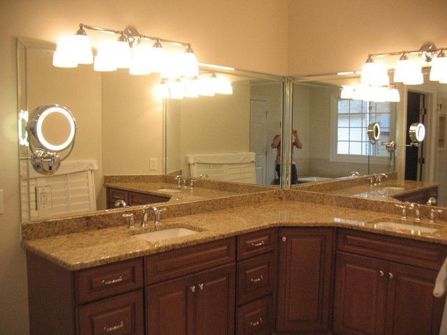 Framed Beveled Bathroom Mirrors beveled mirror strips applied to frame out the two (l-shaped