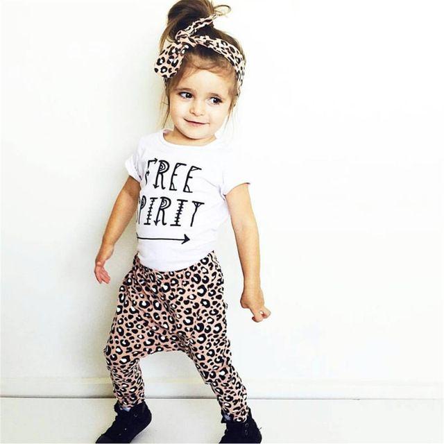 60fc64c65b4c9 Été 2018 Nouveau Bébé Fille Léopard Vêtements De Mode T-shirt + Pantalon +  Bandeau Enfants En Bas Âge 3 Pcs Costume nouveau-né Bébé Filles Vêtements