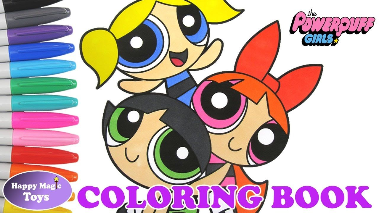 Powerpuff Girls Coloring Book Blossom Bubbles Buttercup Happy Magic ...
