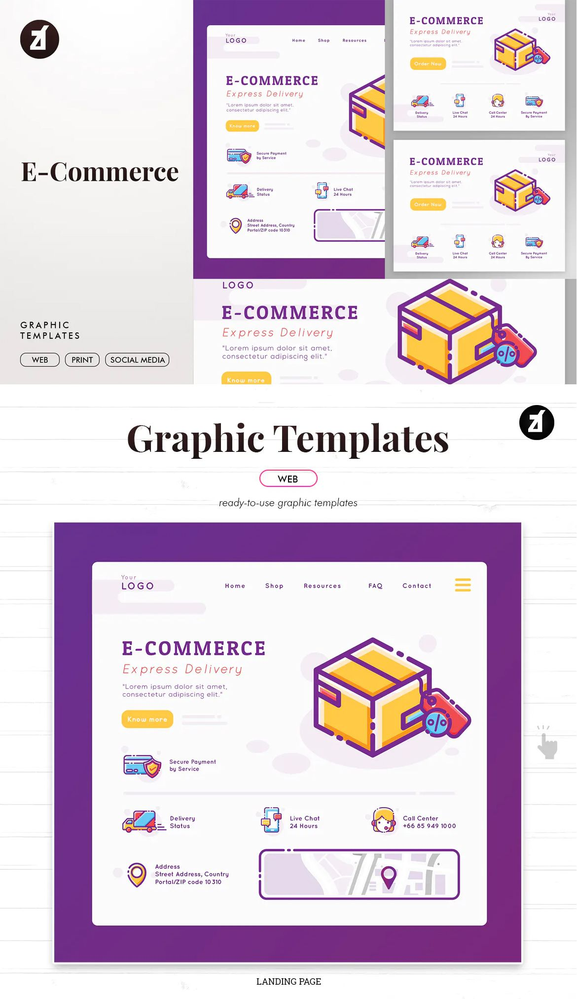 E-Commerce Graphic Templates and Landing Page Template AI, EPS
