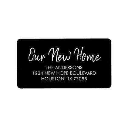 our new home return address labels black return address