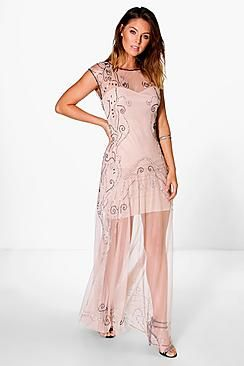 Boutique Bella Beaded Sweetheart Maxi Dress