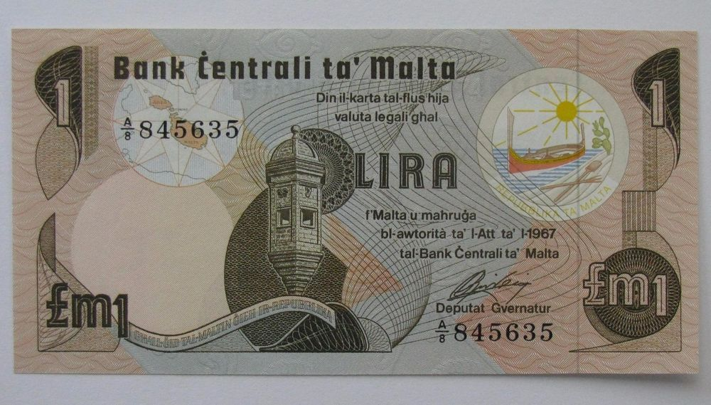 1967 Central Bank of Malta 1 Pound Note; P34a Crisp Uncirculated Banknote