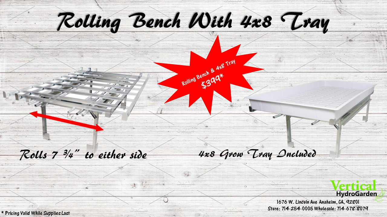 Rolling Bench Kit Includes: 1 - 4' x 8' Rolling Bench System 1 - 4