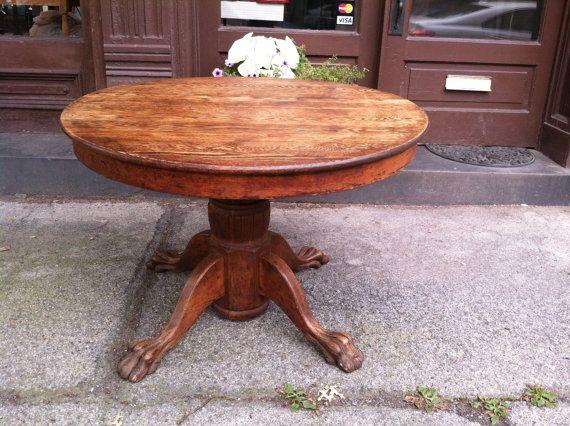 Circa 1890 Round Solid Quarter Sawn Oak Claw Foot Table