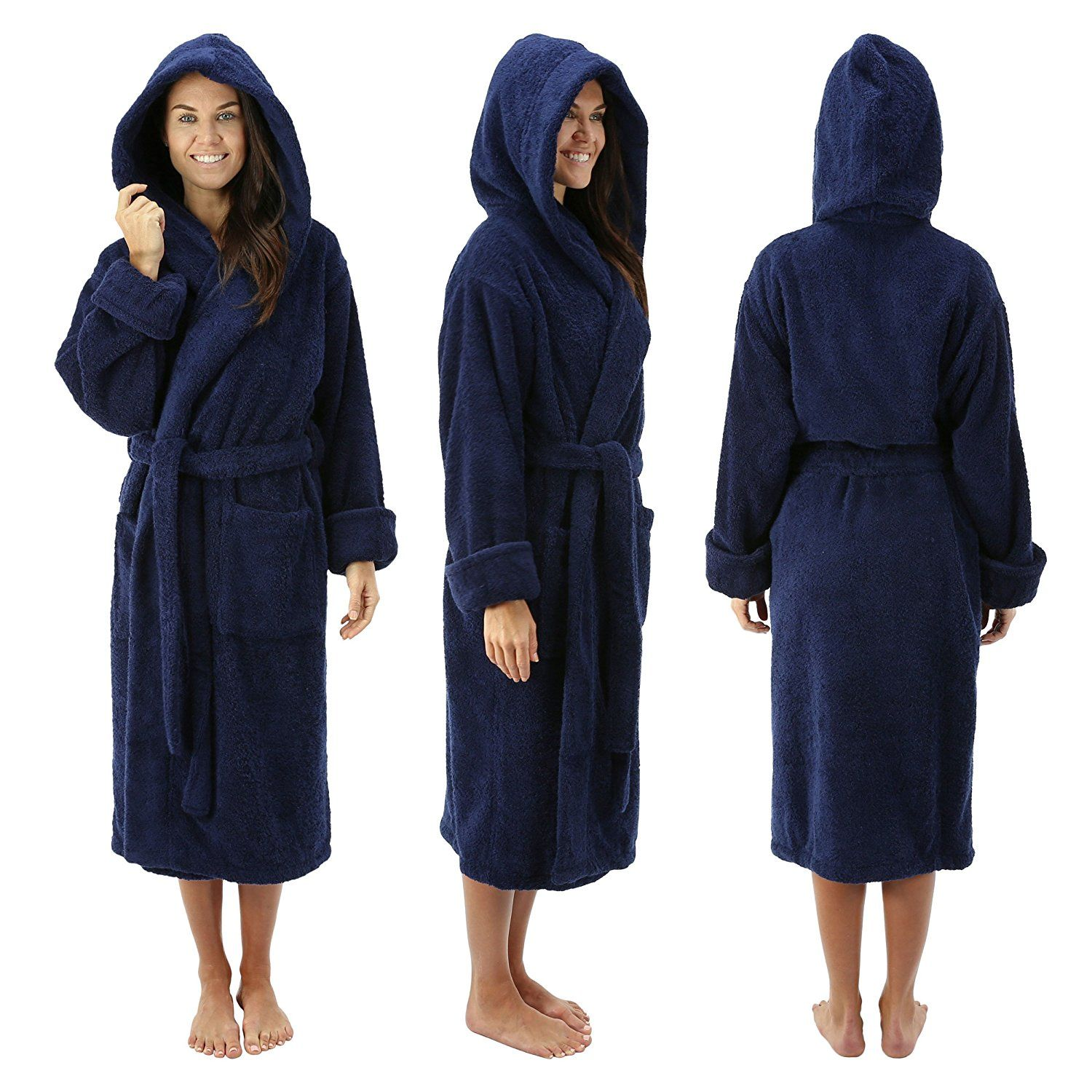 82fc5d444cefe Comfy Robes Women s Deluxe 20 oz. Turkish Cotton Hooded Bathrobe ...