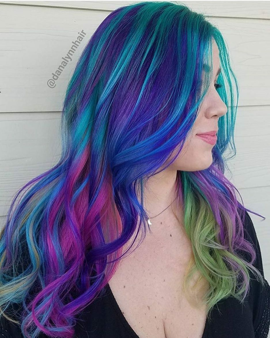 Beauty Fantasy Unicorn Purple Violet Red Cherry Pink Yellow Bright Hair Colour Color Coloured Colore Mermaid Hair Color Hair Dye Colors Hair Inspiration Color