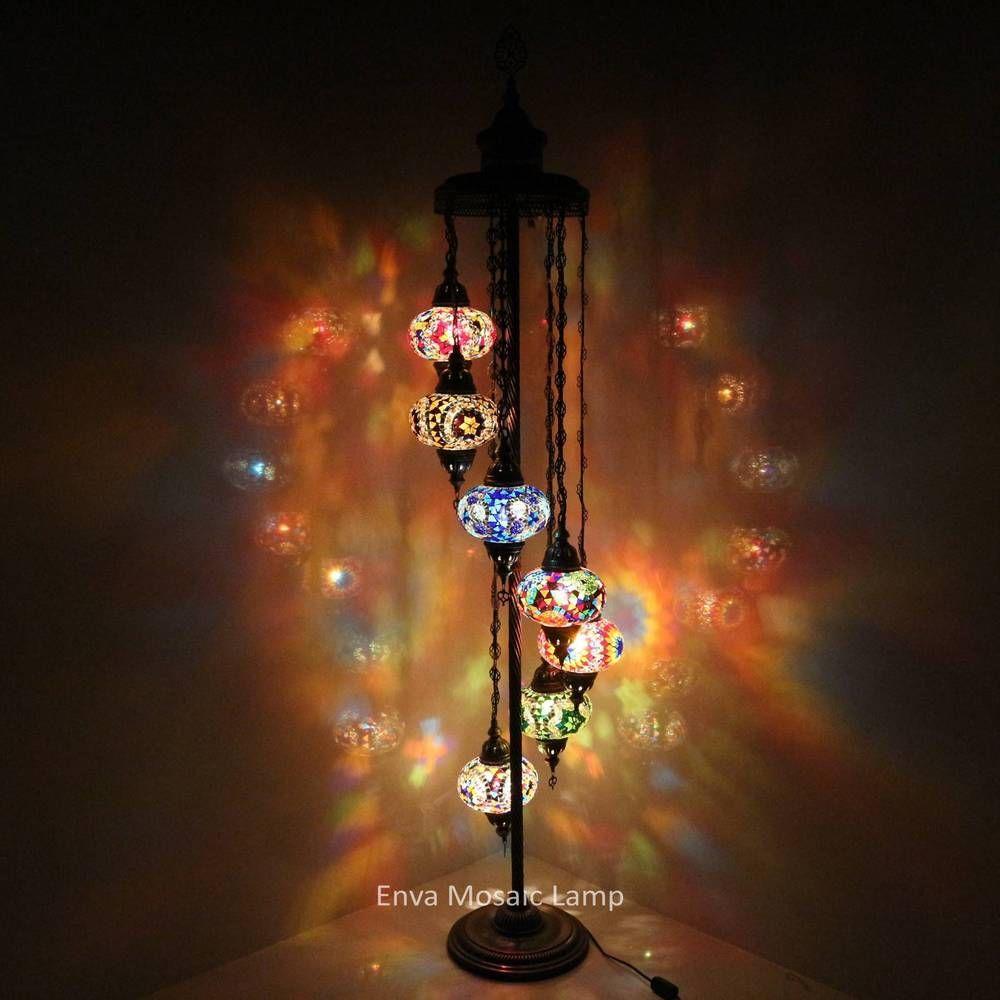 Turkish Moroccan Style Mosaic Multicolour Floor Lamp Light 5 Large Globe