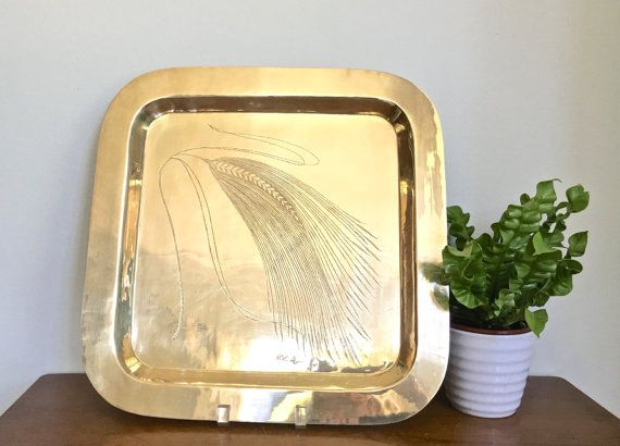 Large Vintage Brass Tray Square Shiny Polished Gold Signed Tray Palm Beach Chic