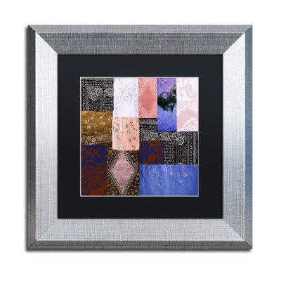 "Trademark Art 'Afrikan Batik IV' Framed Graphic Art Size: 11"" H x 11"" W x 0.5"" D, Mat Color: Black"