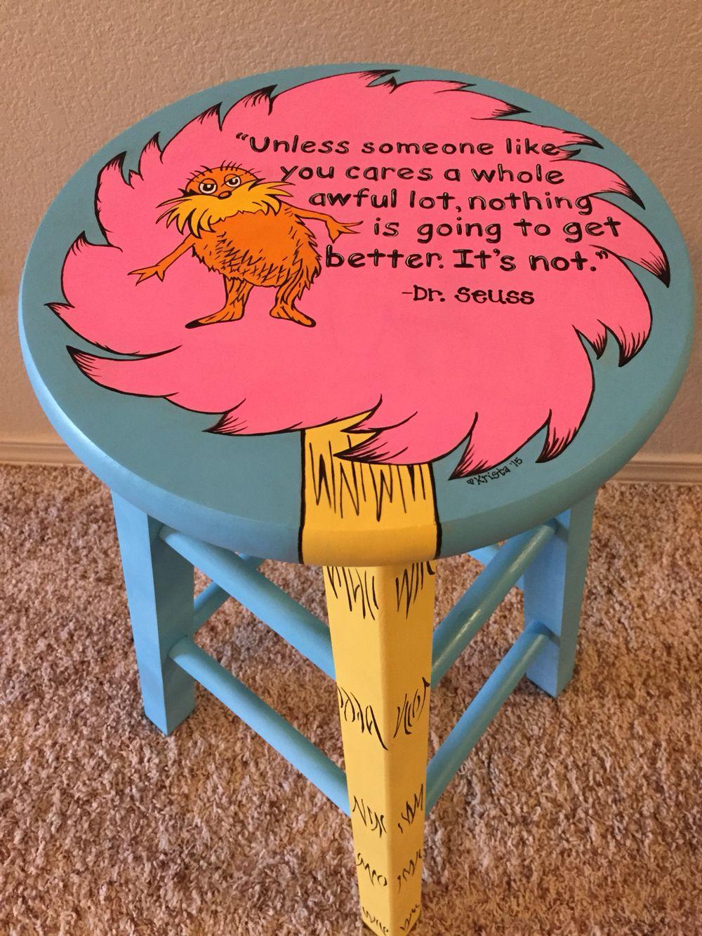 Fabulous Dr Seuss Lorax Inspired Stool Dr Seuss Nursery Dr Frankydiablos Diy Chair Ideas Frankydiabloscom