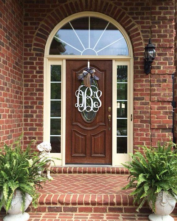 20 Inch 3 Letter Wooden Front Door Monogram With Bow Large Custom Bow Front Door Monogram Wooden Front Doors Best Front Door Colors
