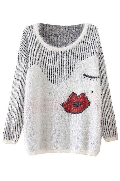 wink + lips sweater {cute}