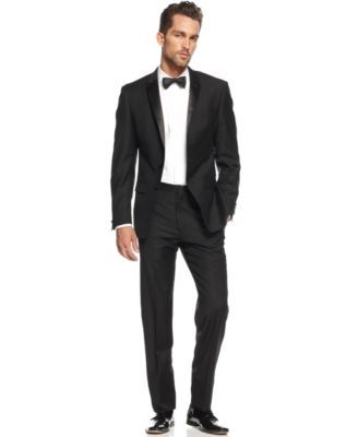 DKNY Suit Black Tuxedo Extra Slim Fit