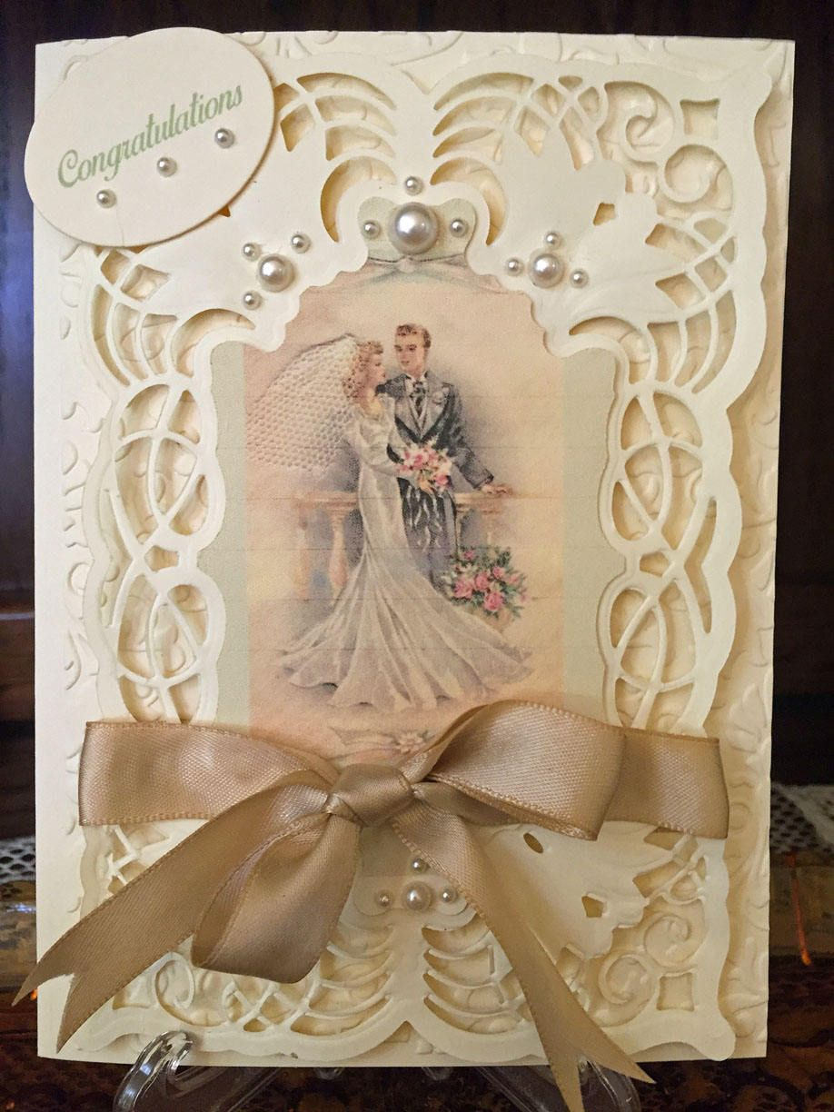 Wedding Greeting Card Vintage Style By Myhobbycardshop Wedding