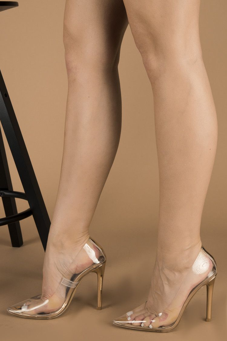 Chyna Rose Gold Court Pumps in Clear