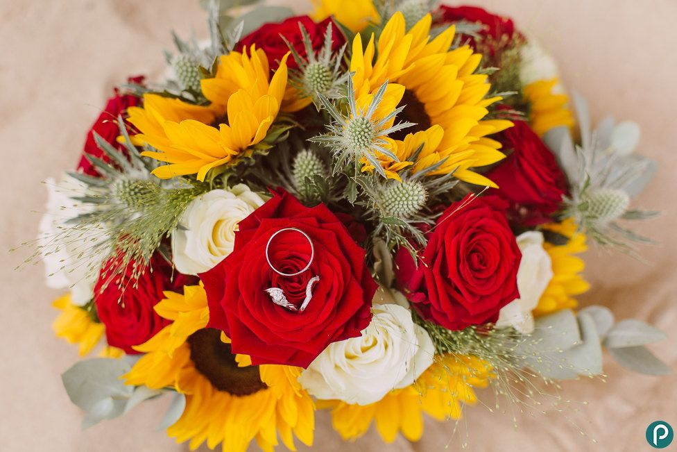 Wedding Flowers Red And Yellow : Yellow sunflowers red roses wedding bouquet beach