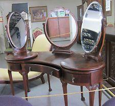 Dressing Table English Rare Antique George Ii Burled Walnut End Mirrors Rotate