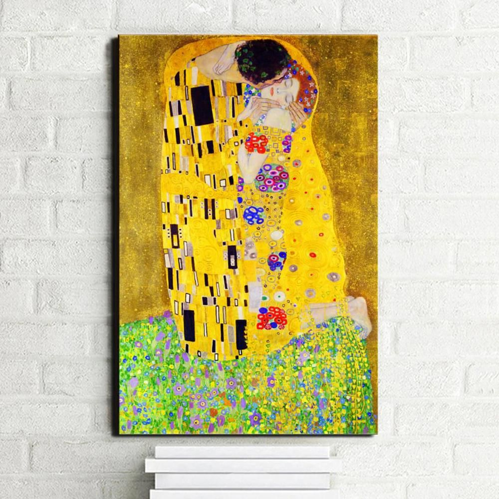Canvas Pictures Famous Painting The Kiss Gustav Klimt Wall Art Photo Poster