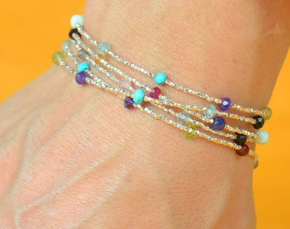 Semiprecious Gemstones and sterling silver beads by zzaval