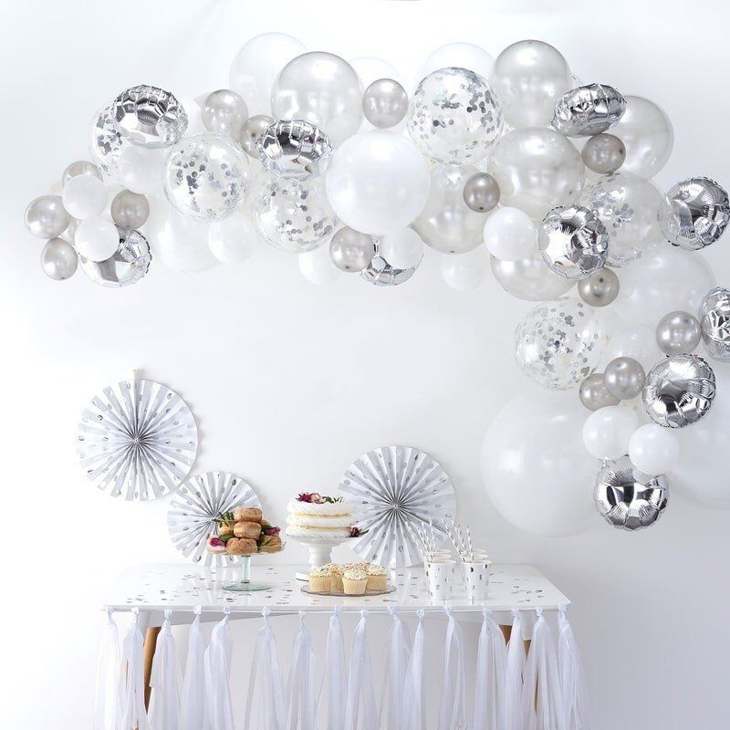Silver Balloon Garland Kit, Silver Balloon Arch Ki