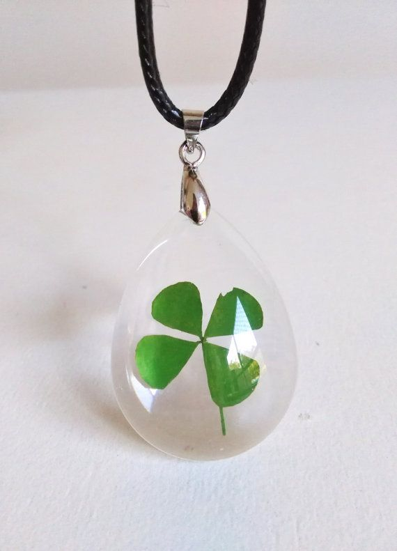 Real four leaf clover necklace dried flower by feathersandstars real four leaf clover necklace dried flower by feathersandstars mozeypictures Image collections