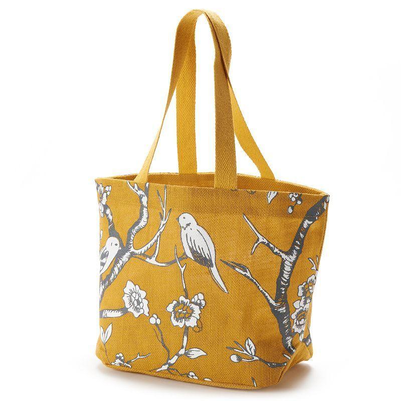 Jute Bags Davion Birds Jute Shopper, Blue