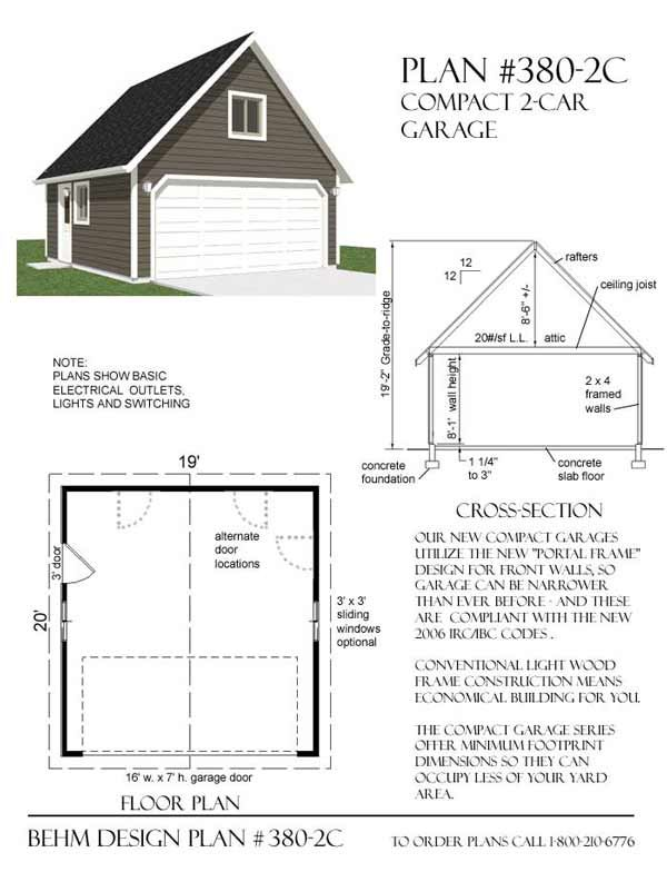 Two car garage plan has minimum dimensions and standard 16