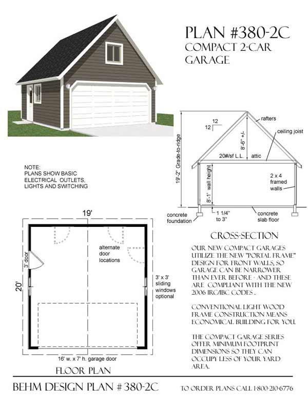 nice 2 car garage dimensions minimum #10: Two car garage plan has minimum dimensions and standard 16u0027 wide garage  door. Roof