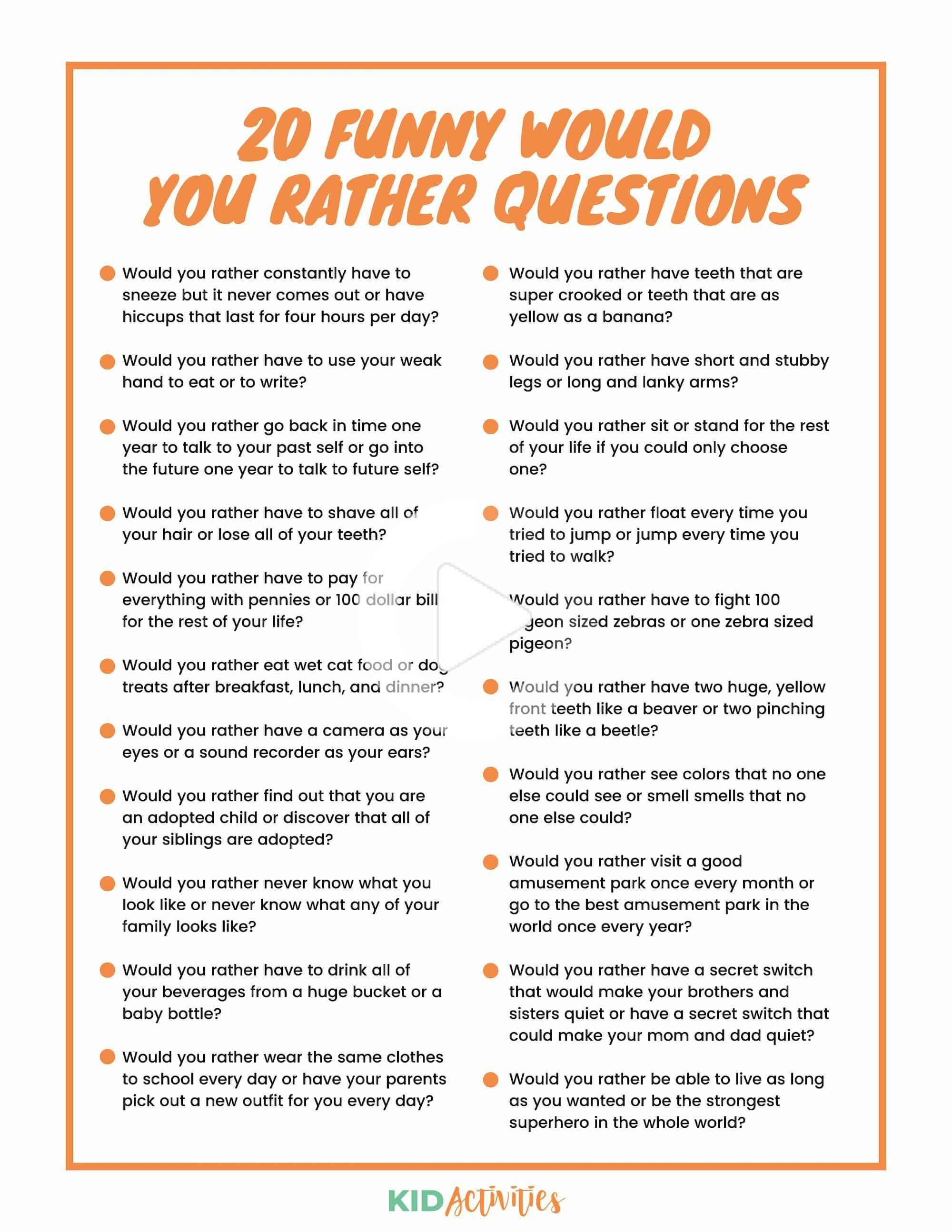 301 Would You Rather Questions For Kids In