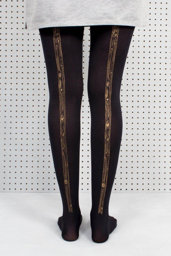 4cc4f1d1a5a6f2 Hand Screen Printed Black Woodgrain Tights. Gift for her. Wood print. Black  Tights. Tree Print. Patterned Tights.