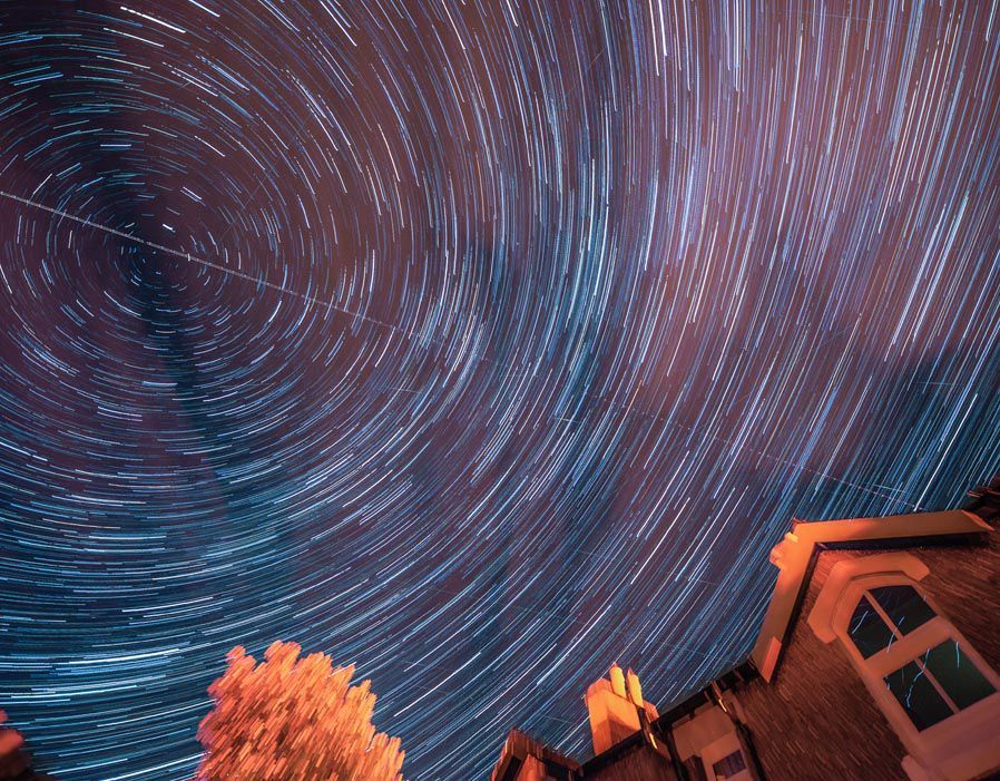 A timelapse picture showing the meteor shower over Appleby in Cumbria