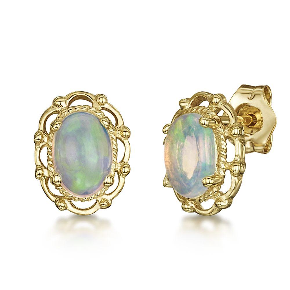 9ct Yellow Gold Opal Stud Earrings - 9ct Gold Earrings at Elma UK Jewellery