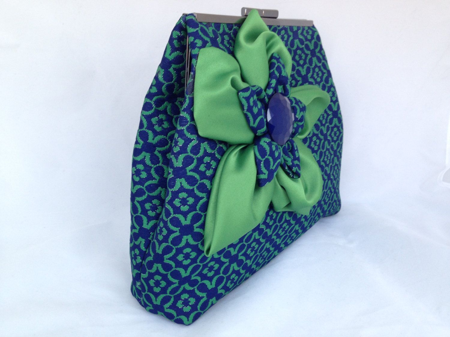"BLUE & GREEN PURSE clutch/bag with chain and  large 7"" double stacked flower by ClutchChemistry on Etsy https://www.etsy.com/listing/210506806/blue-green-purse-clutchbag-with-chain"